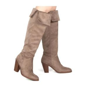 Qupid Almond Toe Over The Knee Chunky Stacked Boot